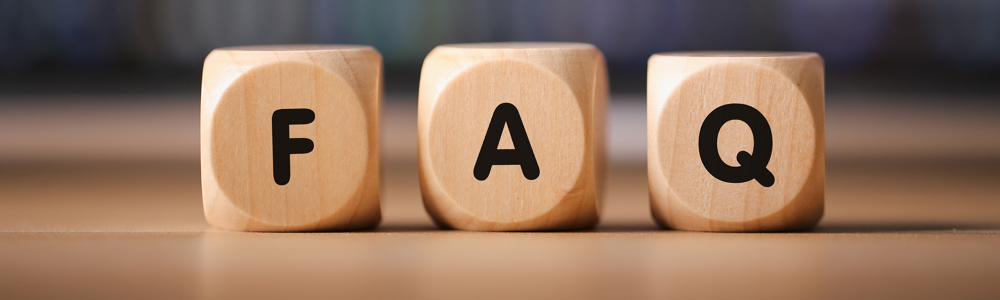 Wooden blocks spelling FAQ
