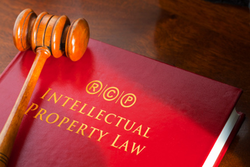 Intellectual Property Law book and gavel